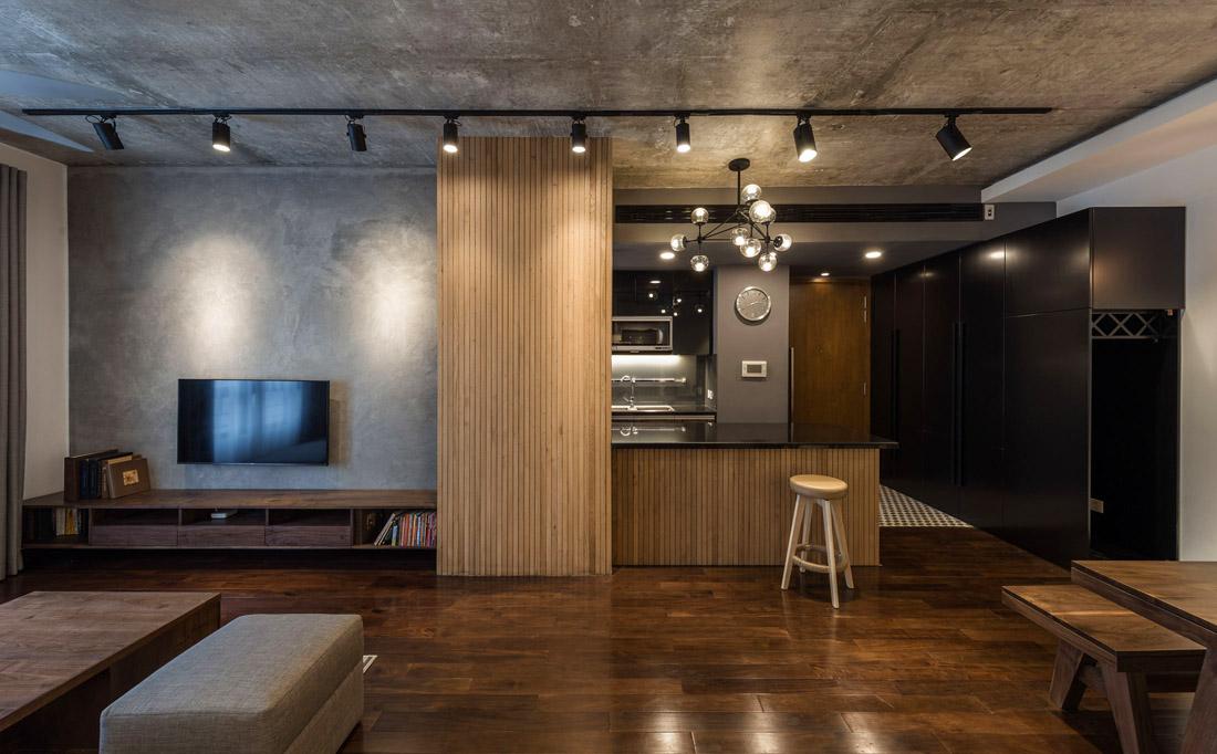 Дизайн квартиры лофт и дерево