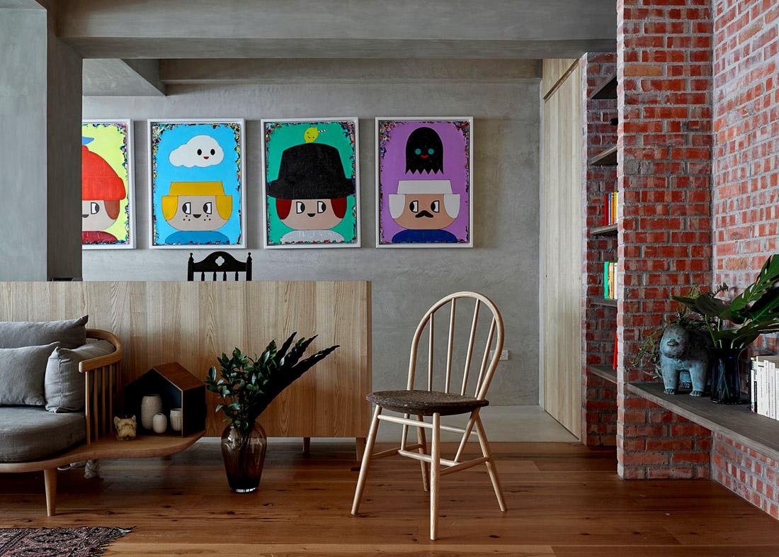 Интерьер гостиной в квартире на Тайване, фото