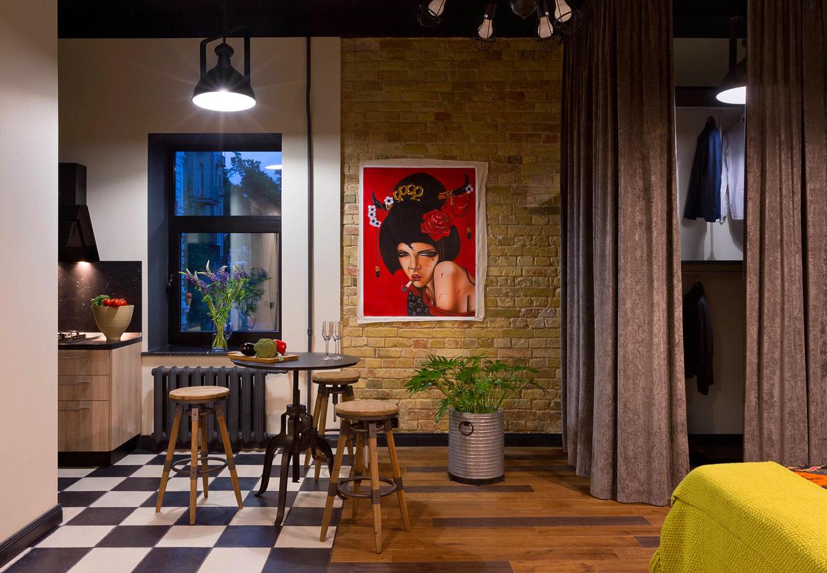 Яркий интерьер квартиры в стиле лофт, фото