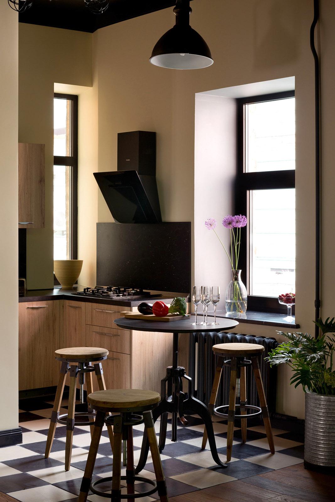 Интерьер кухни лофт, фото