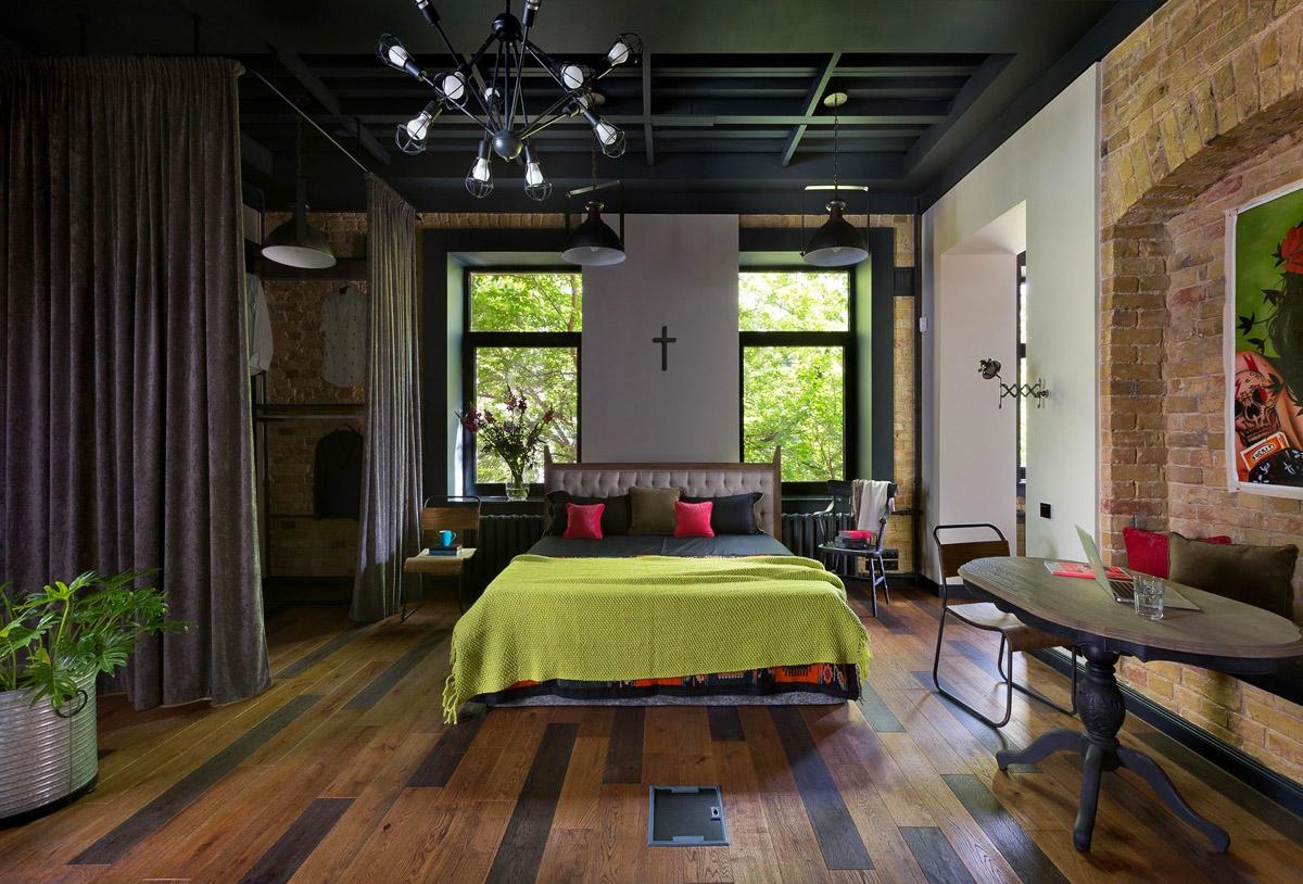 Спальня в стиле лофт, фото