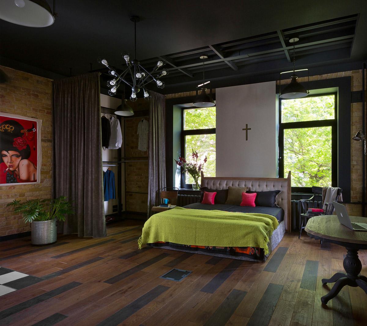 Интерьер спальни в стиле лофт, фото