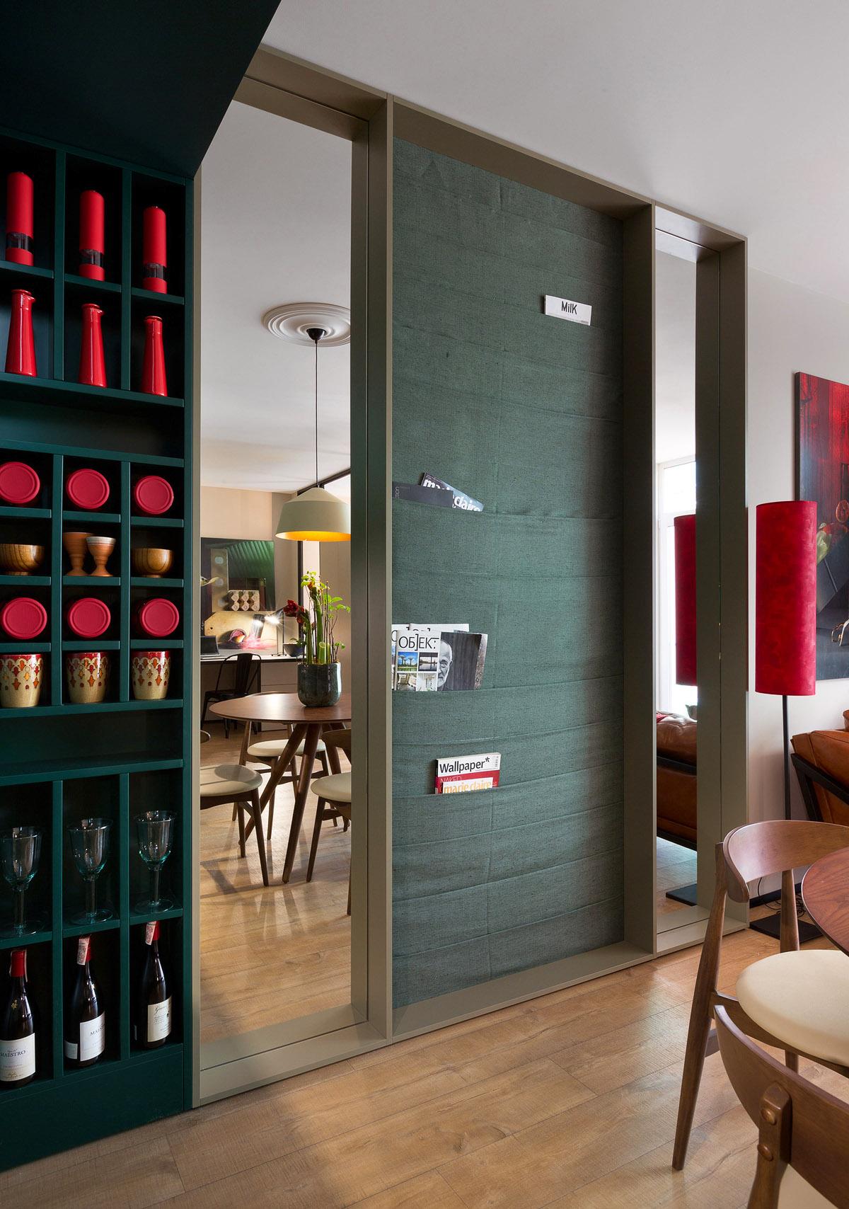 Гостиная с удобным шкафом купе, дизайн интерьера, Киев, Украина, фото