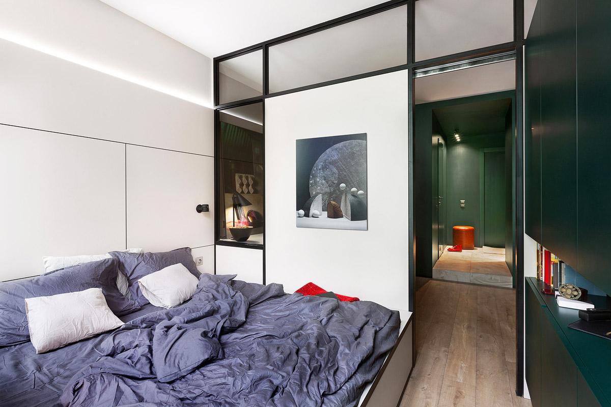 Интерьер спальни в маленькой комнате, дизайн, Киев, Украина, фото
