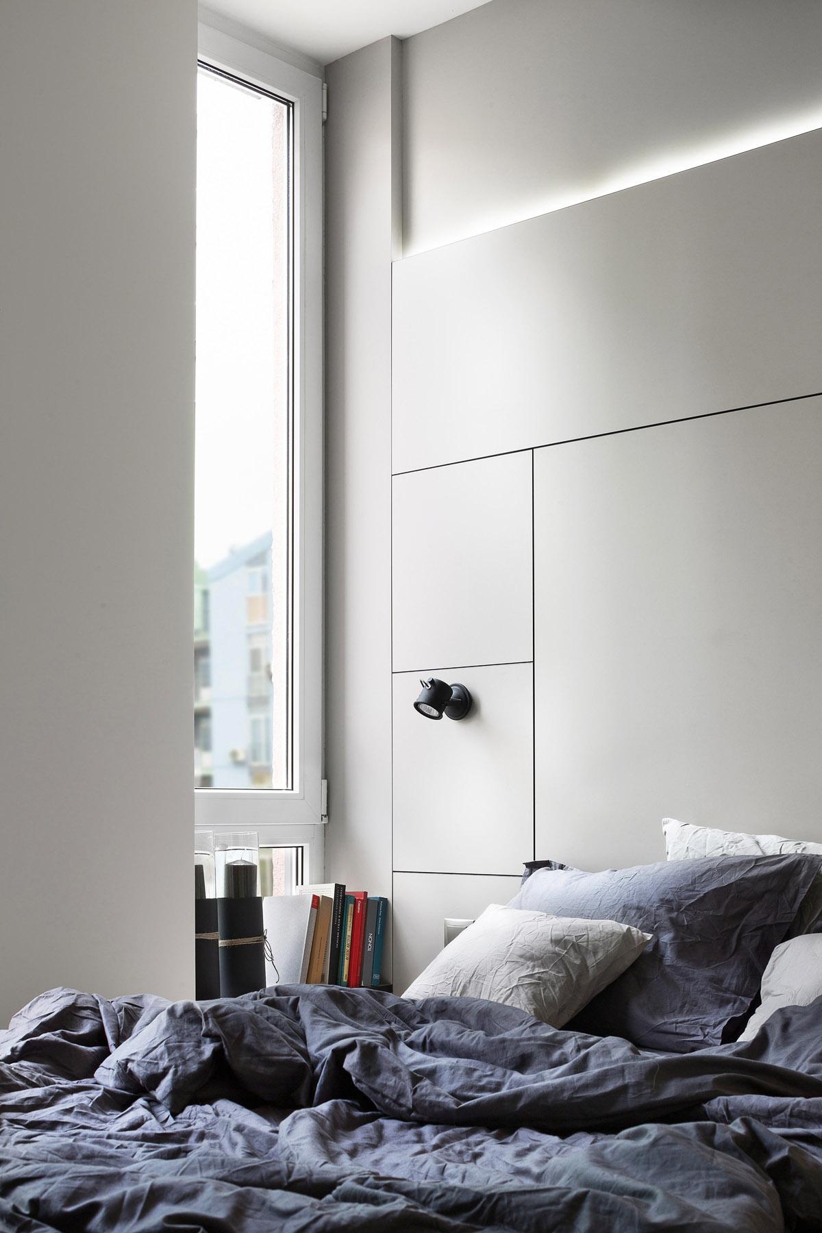 Спальня в маленькой комнате, дизайн интерьера, Киев, Украина, фото