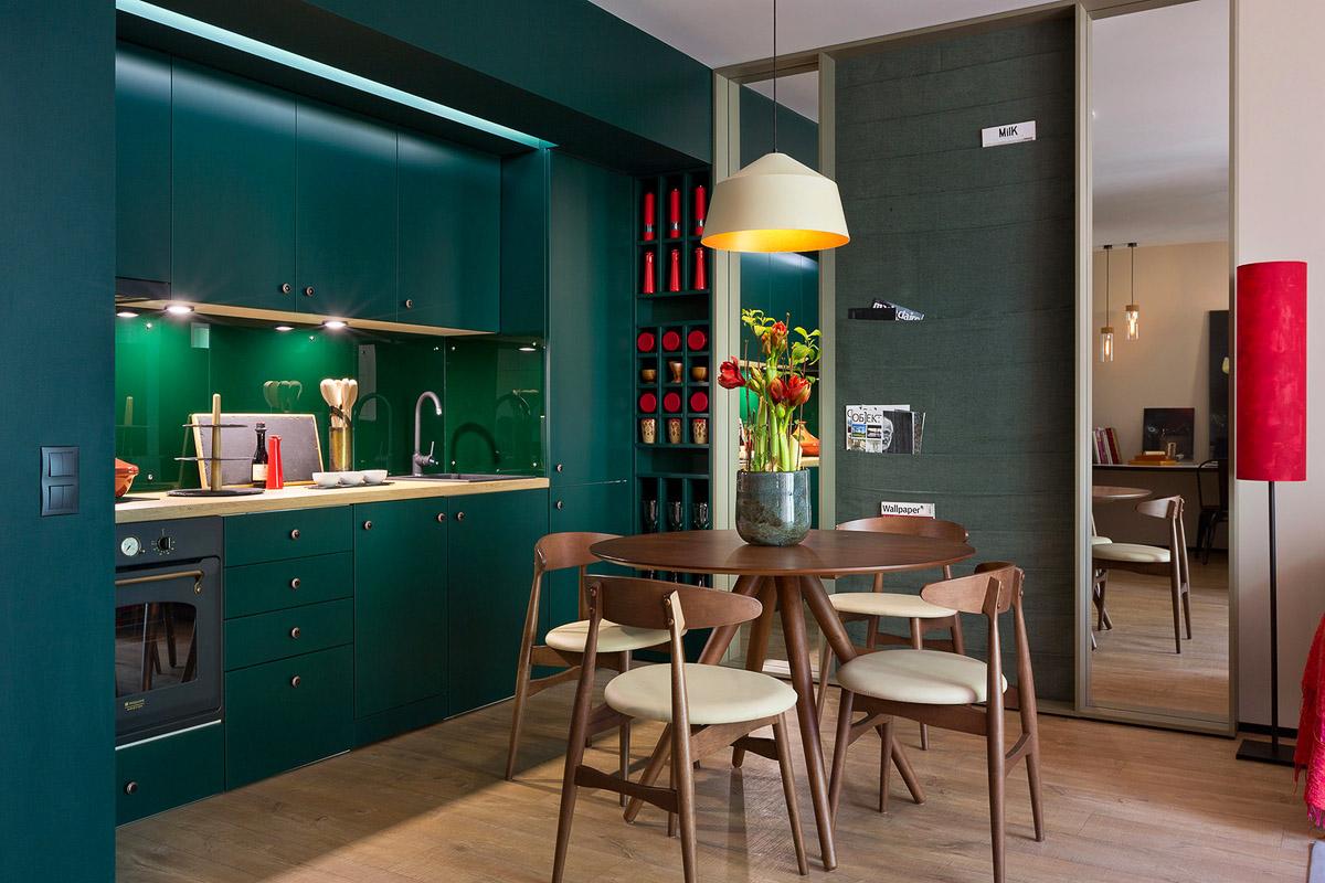 Яркая кухня студио, дизайн интерьера, Киев, Украина, фото