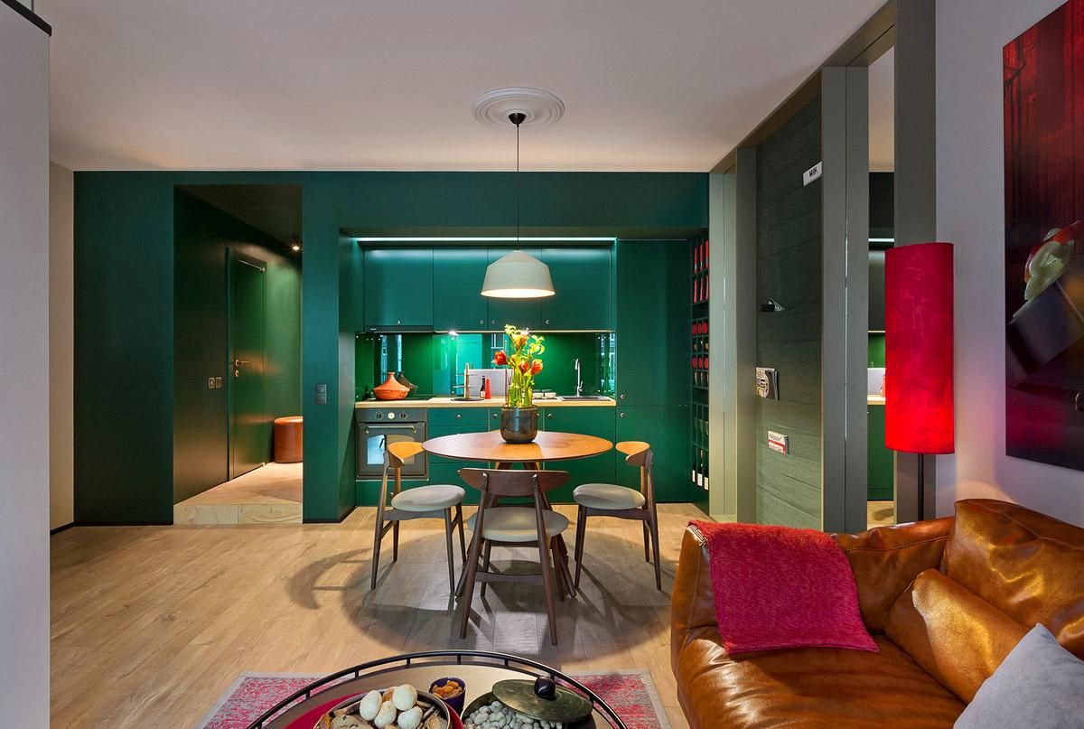 Кухня студио с обеденной зоной, дизайн интерьера, Киев, Украина, фото