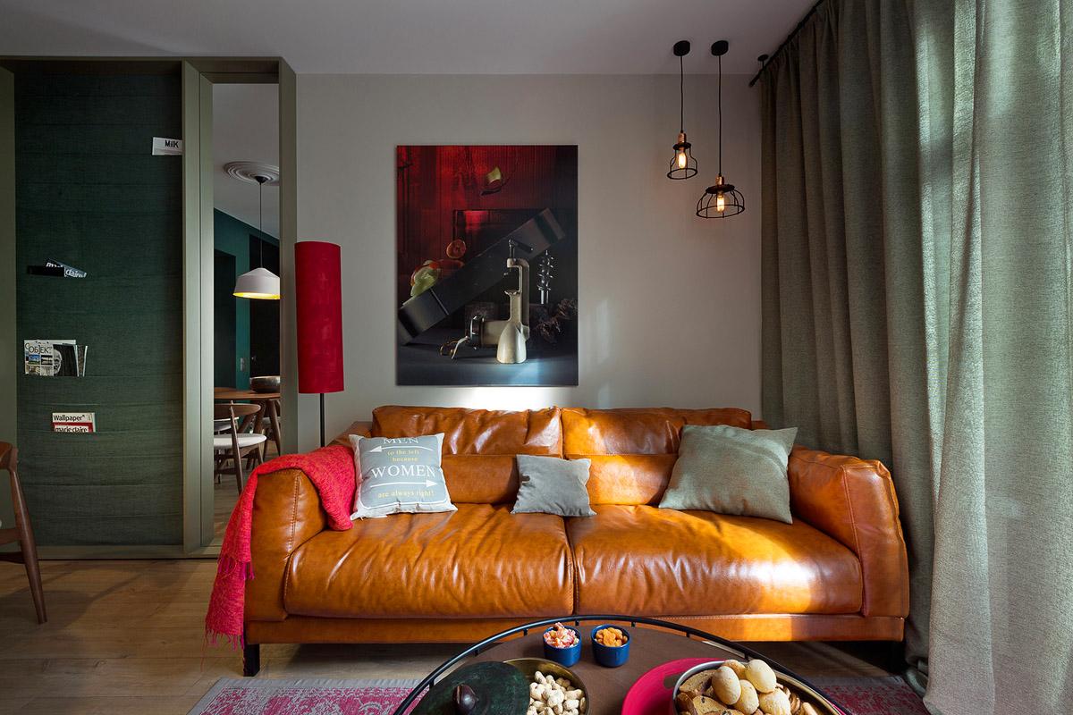 Гостиная с удобным кожаным диваном, дизайн интерьера, Киев, Украина, фото
