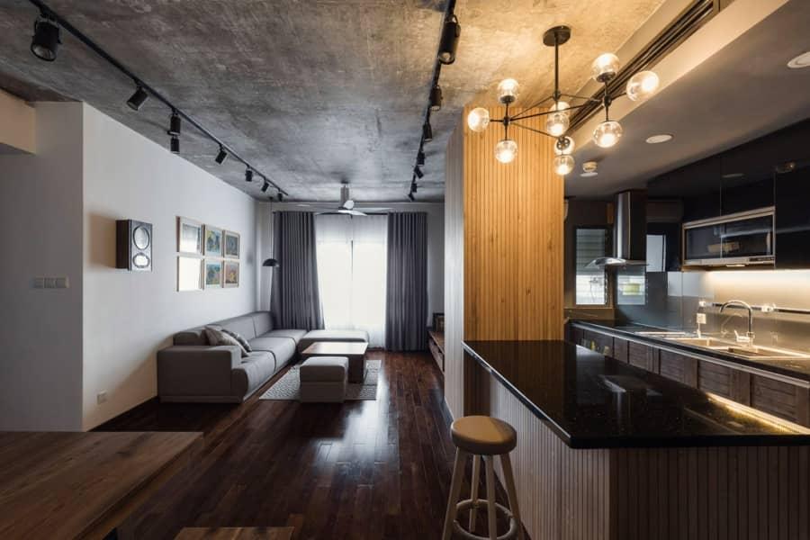 Дерево и бетон: элегантная квартира с элементами лофта, фото