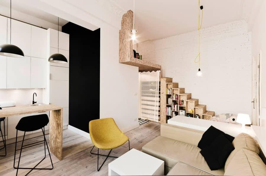 Грубый OSB-декор: интерьер маленькой квартиры во Вроцлаве, фото