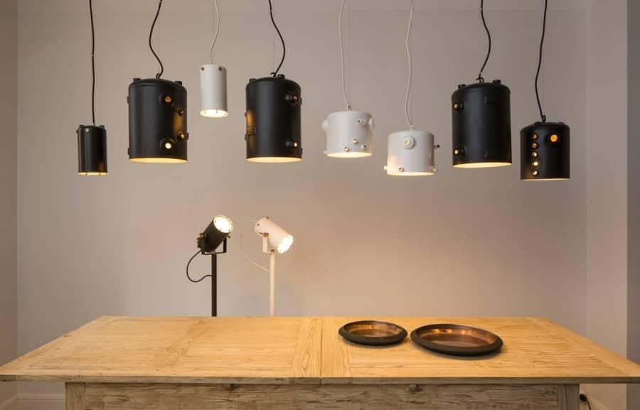 Металлические лампы из отработанных бойлеров кофейных машин, фото