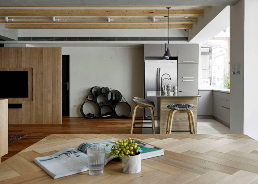 Просторный современный интерьер квартиры в Тайпее, фото