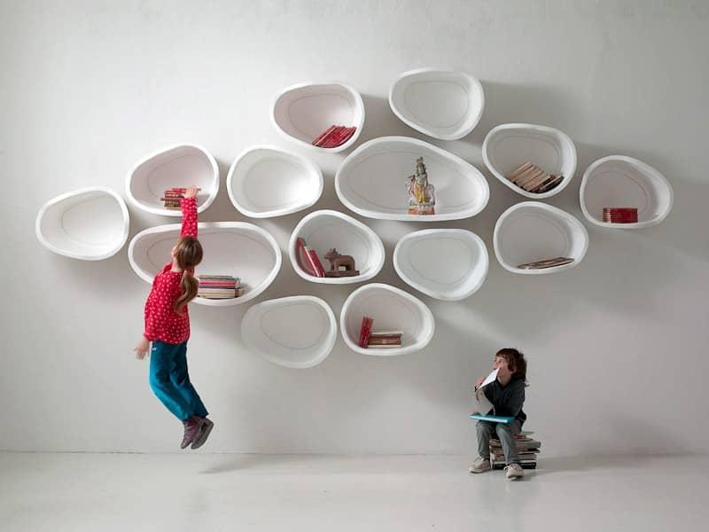 Сучасні книжкові полиці Favo: практичні органічні форми, фото