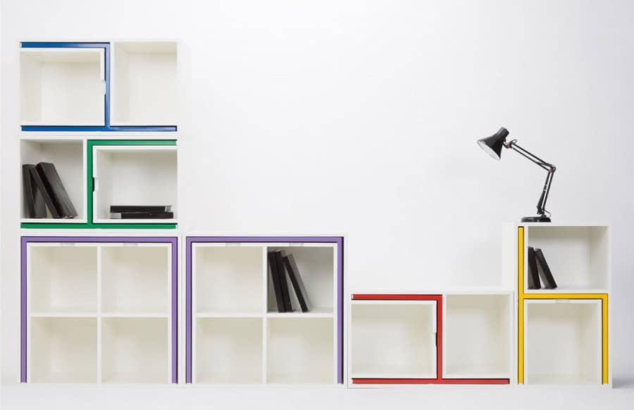 Универсальный стеллаж для книг со встроенным обеденным комплектом, фото