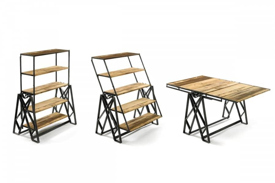 Как превратить полку в обеденный стол. Пример стола-трансформера в индустриальном стиле, фото